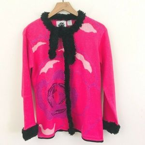 Storybook Knits Rose Floral Cardigan Sweater S